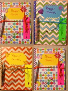 Just made these prayer journals for our Women's prayer breakfast . Just made these prayer maga Retreat Gifts, Women's Retreat, Retreat Ideas, Visiting Teaching, Prayer Ministry, Women's Ministry, Children Ministry, Ministry Ideas, Bible Study Crafts