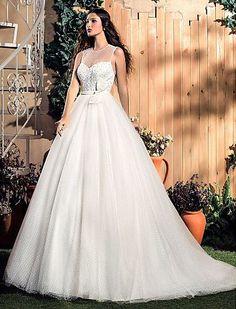 A-line Jewel Knee-length Tulle 2016 Wedding Dress
