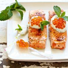 Wild Salmon with Minty Yogurt Sauce ~ add a dollop of caviar for an elegant twist!