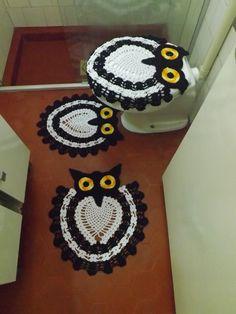 conjunto-jogo-de-banheiro-coruja-jogo-de-banheiro-de-croche-coruja-preto-e-branco.jpg (2304×3072)