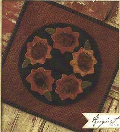 Primitive Folk Art Wool Applique Pattern:  AUGUST - CANDLE MAT. $5.00, via Etsy.