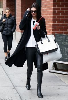 Kendall Jenner street style with leather pants (October 2014). #kendalljenner