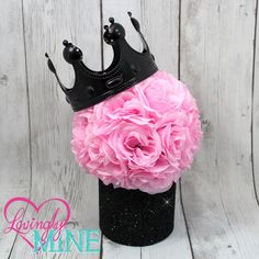 Glitter Black & Pink Centerpiece, Pink Faux Silk Rose Pomander with Optional Black Crown - Baby Shower, Birthday, Princess Party Decor by LovinglyMine on Etsy