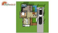 แบบบ้านโมเดิร์นชั้นครึ่ง 3 ห้องนอน 2 ห้องน้ำ สวยทันสมัย อบอุ่นน่าอยู่ - ที่นี่มีสาระ Model House Plan, House Plans, Rest House, Facade House, Floor Plans, Exterior, House Design, How To Plan, Modern