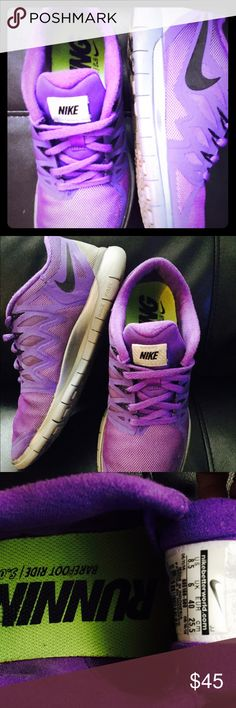 NEW NIKE FREERUN 5.0 summery neon purple Worn twice but look like they have never been worn pictures show details!!! They are 8.5 half size too big for me! Very comfortable light weight bendable breathable summer walking or running shoe! Perfect for the gym or just to walk around a lot! Summery BRIGHT purple with black swoosh sign! Literally have zero dirt or scuff marks on the purple or gray inside &out they are clean & MINT CONDITION! GREAT PRICE FOR NEW NIKES! Size 8.5 offers welcome hit…