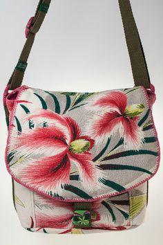 Vintage Floral Barkcloth Messenger Bag (cream, light gray, pink, green) Price: $150 | Specs and to buy now:  https://www.etsy.com/listing/241914586/vintage-floral-barkcloth-messenger-bag?ref=shop_home_active_2