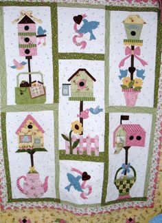 Free Birdhouse Quilt Patterns | made this for my daughter and finally got it quilted. She loved it ...
