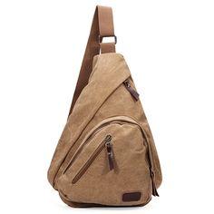 Mens Canvas Outdoor Sport Chest Pack Cross body Sling Single Shoulder Bag - US$13.65