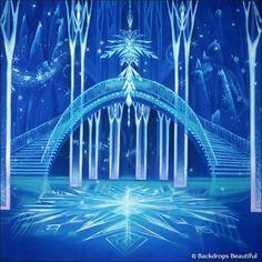 Hand Painted Scenic Backdrop Rentals and Sales Frozen Art, Disney Princess Frozen, Disney Princess Pictures, Elsa Frozen, Disney Frozen Castle, Frozen Wallpaper, Disney Wallpaper, Castle Backdrop, Frozen Backdrop