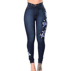 c969e7176ea2 Big Woman Vintage Retro High Waist Jeans Women Denim Orchid Flower Pencil  Dark Blue Pants Designer Embroidered Jeans Plus Size