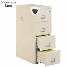 """Letter Size Fireproof File Cabinet 18""""W X 25""""D X 53""""H - Sand by FIRE KING. $1810.00. FireKing Vertical Fireproof File Cabinets Ensure the safety of your vital documents. These fireproof file cabinets meet UL impact requirements: Cabinet remains locked and intact without damage to paper contents after enduring 1500 F, a drop from 30'H and heating to 1500 F again. Meets the UL 2000 F Explosion Hazard rating and the Class 350 One Hour Fire rating; protects paper c..."""
