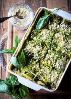vegan lasagne with lentils and spinach pesto