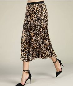 Suzanne Betro Brown Leopard Pleated Skirt - Women & Plus Flowy Skirt, Pleated Skirt, Leopard Print Skirt, Maxi Cardigan, Brown Leopard, Cardigans For Women, That Look, Feminine, My Style
