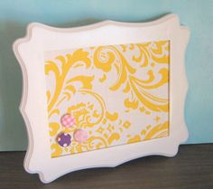 Items similar to White Decorative PIn Board Scalloped Frame Yellow Damask Hostess Gift for Her Memo Board Ready To Ship on Etsy Yellow Bathrooms, Hostess Gifts, Bulletin Boards, Damask, Kids Bedroom, Gifts For Her, Bedrooms, Room Ideas, Crafting