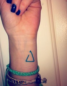 small wrist tattoo. delta is a symbol for change. the triangle with the gap means 'open to change'