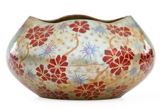 "Zsolnay Vessel with red flowers, eosin glaze, Pecs, Hungary, 1900-02 Raised five churches seal, impressed 6894 5 1/4"" x 9 1/2 17/K2,6eU"