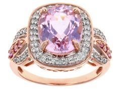 3.75ct Oval Kunzite With .14ctw Round Pink Sapphire And .25ctw White Diamond 10k Rose Gold Ring