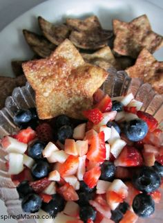 Red White and Blue Fruit Salsa and Star Chips Recipe #ad #CookwithSpreads