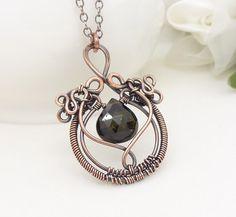 Green tourmaline necklace Copper wire by CreativityJewellery, $85.00