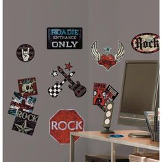 BOYS ROCK n ROLL wall stickers 25 decals Guitar Skull Tattoo room decor Music in Decals, Stickers & Vinyl Art | eBay