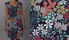 Short-Sleeve Floral-Print Dress