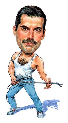 "Queen-Freddie Mercury ""Killer Queen"" Caricature Rock Sticker Or Magnet Cartoon Faces, Funny Faces, Cartoon Characters, Funny Caricatures, Celebrity Caricatures, Queen Freddie Mercury, Caricature Drawing, Killer Queen, Rock Legends"