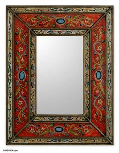 Rectangular Reverse Painted Glass Wall Mirror from Peru - Red Cajamarca Warmth   NOVICA