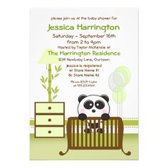 Shop Green Panda Baby Shower Invitations created by Personalize it with photos & text or purchase as is! Baby Shower Invitations, Custom Invitations, Invites, Colored Envelopes, White Envelopes, Panda Baby Showers, Baby Shower Balloons, Envelope Liners, Smudging