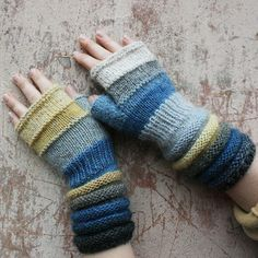 Seashore Striped Hand Knit Fingerless Gloves by WrapturebyInese, $46.00
