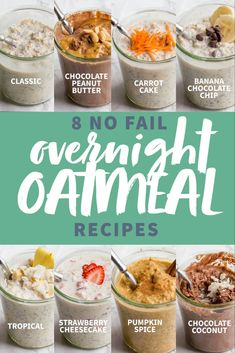 Get all the info you need to make awesome overnight oats, plus EIGHT fool-proof overnight oatmeal recipes you should try! Get all the info you need to make awesome overnight oats, plus EIGHT fool-proof overnight oatmeal recipes you should try! Overnight Oats Receita, Vanilla Overnight Oats, Easy Overnight Oats, Overnite Oats, Best Overnight Oats Recipe, Overnight Oats Greek Yogurt, Low Calorie Overnight Oats, Peanut Butter Overnight Oats, Overnight Steel Cut Oats