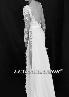 Lace/ Chiffon Long Sleeves Backless Wedding Dress by LUXandGLAMOR