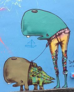 Weird and oddly adorable #streetart from the #WynwoodWalls in #Miami.