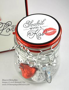 Stampin' Up! Sealed With Love Bundle (new 2017 Occasions Catalog) card and jar by Dawn Olchefske for Control Freak Blog Tour #dostamping