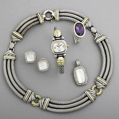 """DAVID YURMAN AND JOHN HARDY SILVER JEWELRY  Yurman three-cable link collar with 14k yg.; cable watch with 18k yg.; mother-of-pearl and diamond """"Albion"""" earrings and enhancer; John Hardy amethyst ring with 18k gold accents, size 10. 213"""