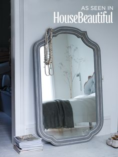 Carved Grey Wooden Mirror
