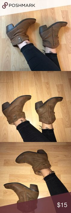 Ankle Cowgirl Booties Super cute and comfy! Size 5 in girls but fits like a 7 in women's. Worn only a few times. Creasing is shown in the last photo. Cherokee Shoes Ankle Boots & Booties