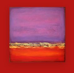 "Acrylic Abstract Original Painting on Canvas Red and Purple Titled: Red Dawn 9 36x36x1.5"" by Ora Birenbaum"