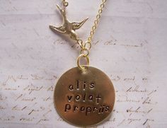 Alis Volat Propriis Necklace Brass  VersionShe by EmilinaBallerina, $18.00