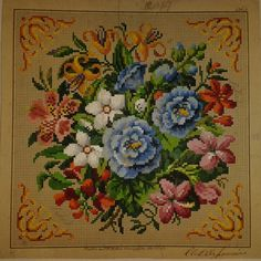 Biedermeier Stickmuster Stickvorlage von L.W.Wittich Berlin woolwork pattern in Antiquitäten & Kunst, Malerei, Aquarelle | eBay