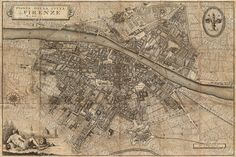 Old map of Florence Italy 1847 Florence map up by VintageImageryX
