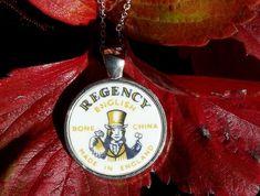 Funky Back Stamp - Regency - Pendant Broken China Jewelry, Regency, Silver Necklaces, Sterling Silver Chains, Ann, Felt, Stamp, Jewellery, Pendant