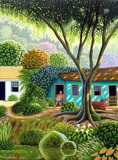 Weaving pretty baskets in the summer sun.Dona Maria Basket Weaver by Edivaldo Barbosa de Souza Landscape Art, Landscape Paintings, Primitive Painting, Caribbean Art, Art Pictures, Photos, Naive Art, Art For Art Sake, Painting & Drawing
