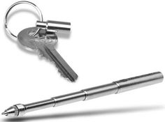 A telescoping pen that can 'compact' onto a keychain for easy storage.
