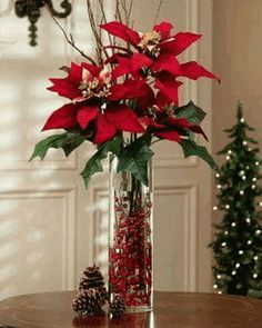 Poinsettia has the most lovely color of leaves and really suitable for christmas. It is also flexible to decorate poinsettia plants for your home Christmas Vases, Christmas Flower Arrangements, Christmas Flowers, Christmas Table Decorations, Noel Christmas, Christmas Wreaths, Poinsettia Flower, Christmas Centrepieces, Christmas Entryway