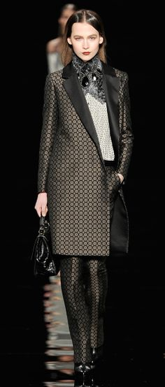 Love the long tuxedo style jacket...would probably pair it with black slacks.Etro Woman Autumn Winter 2012-13 Runway Show..