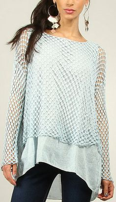 Sky Loose-Knit Hi-Low Tunic hmm might have to try it on to know if I like it