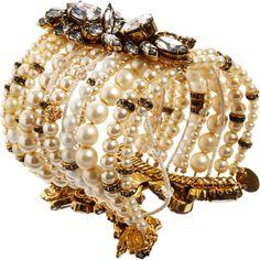 Erickson Beamon Pearl & Crystal Large Multi-Strand Bracelet ($1,335) ❤ liked on Polyvore