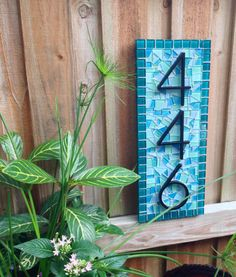 Mosaic House Number Sign In Teal Aqua and by GreenStreetMosaics