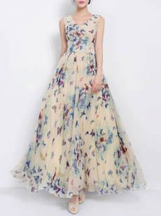 Round Neck Asymmetric Hem Color Block Printed Cotton/Linen Maxi Dress - fashionMia.com