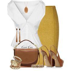 Yellow and Brown All Fashion, Work Fashion, Womens Fashion, Fashion Design, Classy Outfits, Chic Outfits, Fashion Outfits, Yellow And Brown, Mustard Yellow